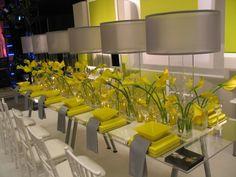 Schöne Dekoideen für extravagante Hochzeitsdekoration - moderne hochzeit feiern dekoration gelb grün fröhlich wedding table decoration