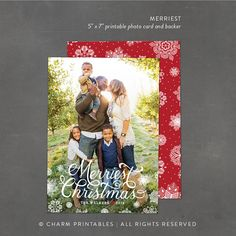 Christmas Photo Card Design, Full Bleed Photo, 5x7 Printable Holiday Cards with Snowflakes, Holiday Greeting Card Template - DIY file