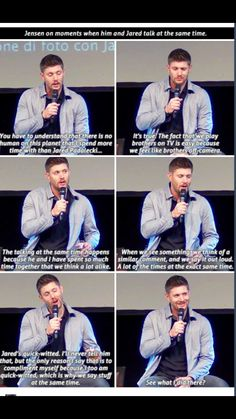 Jensen on moments when he and Jared speak at the same time.