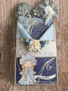 Winter/frozen tag for mini scrapbook Envelope Tutorial, Envelope Box, Paper Pocket, Pocket Cards, Pocket Envelopes, Flip Books, Art N Craft, Christmas Scrapbook, Pocket Letters
