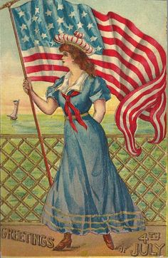 Young lady holding flag