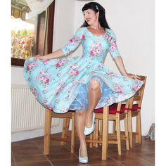Pinup Dress Syren in Ehteral Garden Rockabilly Dress Floral Dress ($89) ❤ liked on Polyvore featuring dresses, silver, women's clothing, skater skirt, blue skater skirt, blue dress, flower print dress and flared skirt