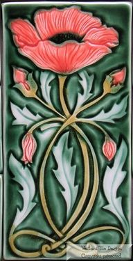 Art Nouveau Poppy Tile by Verdant Tile