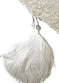 White Ostrich Plume with Crystal Detail