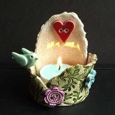 ceramic tea light holder with bird, heart and flowers £13.00