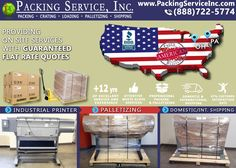 Simple and clear solutions without the hassle! Packing Service, Inc. provides on-site #Shrink #Wrap #Palletizing & #Shipping for ANY item for a Flat Rate. Our specialists arrive at your location to #Pack, #Wrap, #Palletize & #Ship your items anywhere on the globe. Visit www.PackingServiceInc.com or Email: Info@PackingServiceInc.com for your FREE Flat Rate Quote!