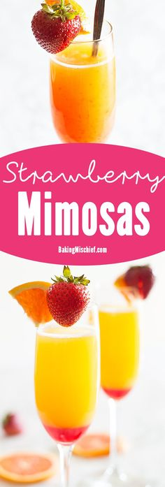 "Make brunch even better with a simple but beautiful strawberry upgrade to your classic mimosa recipe. Recipe includes nutritional information and ""mocktail"" instructions. From http://BakingMischief.com"