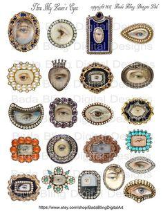 Thru My Lover's Eyes Victorian era Georgian erafor Eye Jewelry, Jewelry Art, Antique Jewelry, Vintage Jewelry, Jewlery, Cameo Jewelry, Vintage Hats, Lovers Eyes, Art Terms