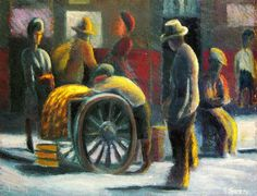 Fruit cart, District Six, South Africa - by Gerard Sekoto - South African Gerard Sekoto, African Art, South Africa, Abstract Art, Cart, Fruit, Painting, Twitter, Inspiration
