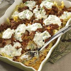 Cheesy Beef Casserole. Very good!! We have this a lot