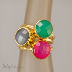 Statement Ring - Stacking Rings - Stackable Rings - Gemstone Ring-  Bezel Rings - Gold Rings -  Vermeil Ring #DelezhenPinSept