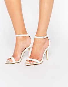 Image 1 of Glamorous White Patent Barely There Sandals