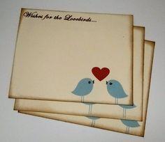 Wedding Guest Book Alternative Cards - Set of 50 - Kissing Love Birds Wedding Wishes