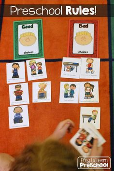 "Good Choices vs. Bad Choices sort from Play to Learn Preschool (""Going to School Centers and Circle Time"" Preschool Unit)"