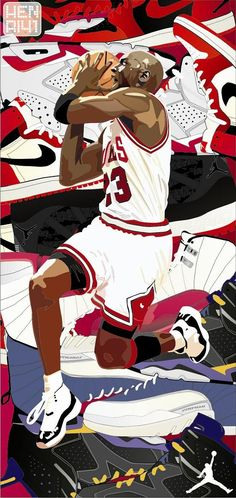 Michael Jordan an his various Air Jordan models. Artwork by the artist HENRI41
