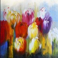 jg1705 Schilderij tulpen 100x100
