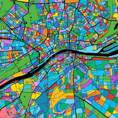 Frankfurt Colorful Vector Map on Black by Hebstreits #stockimage #design #map #colorful #vector