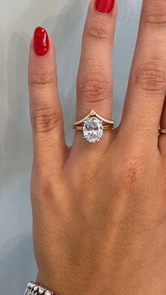 Stacked Engagement Ring, Gemstone Engagement Rings, Engagement Ring Settings, Oval Diamond, Diamond Bands, Ken And Dana Designs, Gold Diamond Wedding Band, Jewelry Box, Wedding Rings