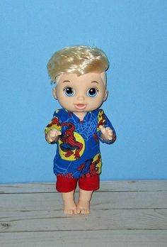 Baby a Live Baby Alive Doll Clothes, Boy Doll Clothes, Baby Alive Dolls, All The Way Down, Toddler Outfits, Short Set, Disney Characters, Boys, Sweet