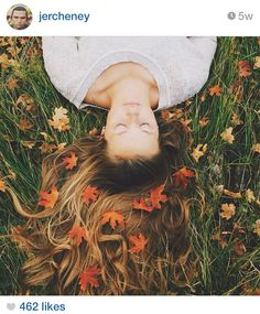 Cool picture I found on Instagram, go follow them! Fall leaves in the hair of a girl laying in the grass