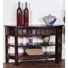 Nebraska Furniture Mart - Product Details Sunny Designs Oxford Curved Entry/TV Console in Dark Oak