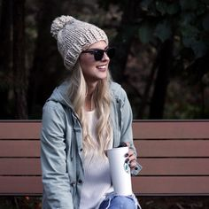 A classic knit hat with 15 color options. Wear it this season and for years to come. Perfect for you or a friend. Denim Hat, Bobble Hats, Slouchy Beanie, Pom Pom Hat, Hat Making, Knitted Hats, Winter Fashion, Winter Hats, Wool