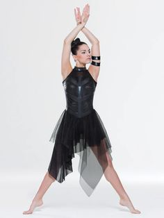 NEW! 2017 Collection Contemporary & Lyrical Costumes: Coated spandex leotard with glitter mesh yoke features strips of foil spandex on bodice and neckline. Attached asymmetrical skirt is a layer of glitter mesh under a layer of tulle.  Includes armbands, hanger and garment bag
