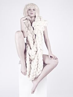 PELT  Julia Ramsey Knitwear  Photographer Xi Sinsong . Model Samantha Ruggiero . Stylist Emily Bess . Make Up Misha Shahzada . Hair Sonia Castleberry . Nail Artist Julie Kandalec