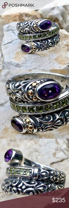 Robert Manse .92518k Amethyst Peridot Wrap Ring Solid Sterling Silver with Solid 18k YG Beads, This beauty is part of the Robert Manse Collection with strong Balinese Influence. 2- Full Bezel Set 4x6mm Faceted Oval Amethyst, each accented with 3-1.5mm 18k YG Balls (6 Total), center band has 13- Faceted, Round, 4-Prong set 2mm Peridot, set in a channel. Size 7, 11.1g Robert Manse Jewelry Rings