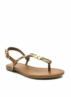 Looped Metallic Accent Sandals
