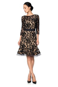 Embroidered Lace ¾ Sleeve Dress with Sheer Cut Out Detail in Black / Nude | Tadashi Shoji