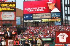 ST. LOUIS, MO - MAY 11: Former St. Louis Cardinals manager Tony LaRussa speaks during a number retirement ceremony in his honor, prior to a game between the St. Louis Cardinals and the Atlanta Braves at Busch Stadium on May 11, 2012 in St. Louis, Missouri. (Photo by Dilip Vishwanat/Getty Images)