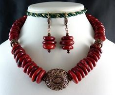 Red Bamboo Coral and Copper Necklace and Earrings by StyleKittie