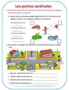 Actividad online de Puntos cardinales para Primero de primaria. Puedes hacer los ejercicios online o descargar la ficha como pdf. Worldmap, Maps, Friendship Activities, Interactive Notebooks, Art Kids