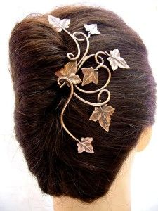 Pin ivy leaves - Elemiah Delecto, hair jewelry crafts, wedding accessories hair bun