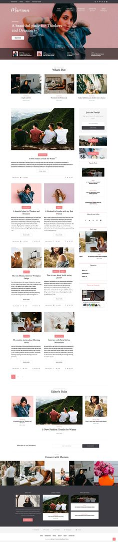 Mariann – Personal WordPress Blog Theme Create a unique and contemporary personal blog with Mariann – a powerfully responsive WordPress blog theme, packed with advanced features to set your person... #webdesign #wordpress #wordpresstheme #uidesign #blog