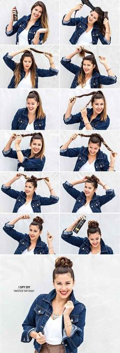 Twist your length and style your hair into a cute bun. Easy summer styles #easyhairstyles #rodete #peinadosartistico Peinado rápido Chongo