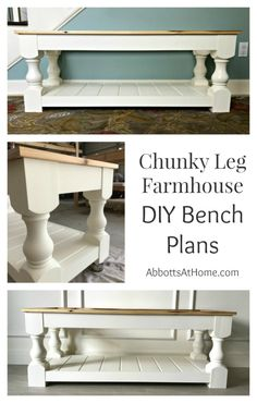 A DIY Chunky Leg Farmhouse Upholstered bench with a shelf. How to build an upholstered bench for the end of your bed, entry, dining room, or living room.