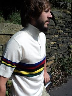 Sticker colour scheme - vintage style pure merino wool cycling jerseys for sale - they're based on the very first UCI Road Race World Champion rainbow jersey - won by legendary Italian cyclist Alfredo Binda in 1927 - check them out on my Etsy page