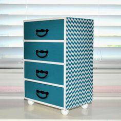 Chevron zigzag design jewelry box, custom color available, storage keepsake treasure box, desert turquoise handmade decoupage box on Etsy, $65.00