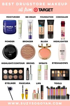Best Drugstore Makeup Guide all from Target Suzy Sogoyan www suzysogoyan com - eye-makeup Best Drugstore Makeup, Drugstore Makeup Dupes, Makeup 101, Skin Makeup, Best Makeup Products, Makeup Brushes, Beauty Products, Basic Makeup, Makeup Geek