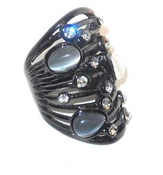 50% off  http://stores.ebay.com/JEWELRY-AND-GIFTS-BY-ALICE-AND-ANN  Cat's Eye Ring with Austrian Crystal in Black tone Stainless size 7 #Unbranded #Statement