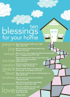 10 Blessings for your home...scripture to believe for my family. from Blessings Unlimited - great addition to housewarming gifts