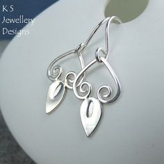 Swirl Drops - Sterling Silver Earrings - Metalwork Shiny Swirls and Teardrops £25.00