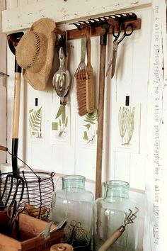 A collection of displays of old garden tools...watering cans, garden everything.....My passion ...and a few charmers on my wish list.