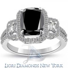 3.31 Carat Pave Halo Cushion Cut Natural Black Diamond Ring 14k White Gold - Black Diamond Engagement Rings - Engagement - Lioridiamonds.com