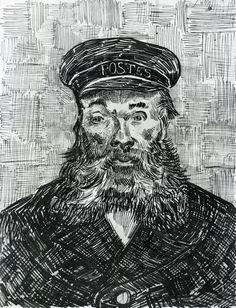 Vincent van Gogh 1888 Portrait of the Postman Joseph Roulin pen & ink 31.8 x 24.3 cm