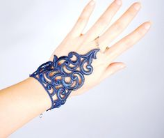 navy blue lace bracelet // chain ring vintage bracelet // gothic dark bracelet cuff // fabric jewelry gift