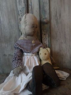 Now on my Ebay 3 Day Auction http://www.ebay.com/itm/Primitive-Folk-Art-Doll-in-Early-Antique-Fabric-w-Mohair-Kitty-Cat-/321651546585?