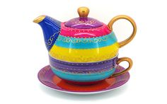 A festive porcelain Tea-for-one set featuring a blue, purple, pink and yellow pattern with gold decorations and handles, the perfect Christmas decoration. Content: pot (Ø 10 cm x cup (Ø 11 cm x 6 cm)A festi. Gold Decorations, Christmas Decorations, Tea For One, Yellow Pattern, Purple, Pink, Blue, Tea Pots, Festive
